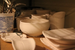 """Some of my newest """"old"""" pots awaiting glazes."""