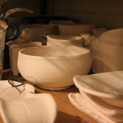 "Some of my newest ""old"" pots awaiting glazes."